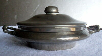 Antique English Pewter Hand Hammered Lidded 2 Handled Serving Bowl - Dish