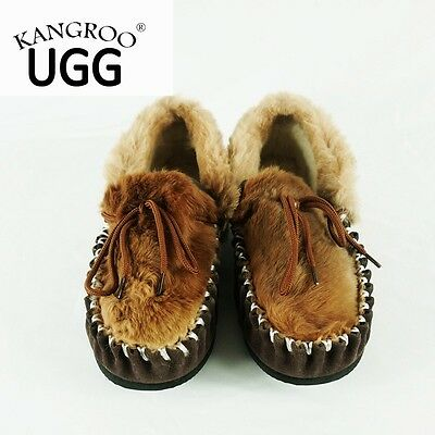 Winter Kangaroo Skin Genuine Australian Sheepskin Lambskin Moccasins Slippers