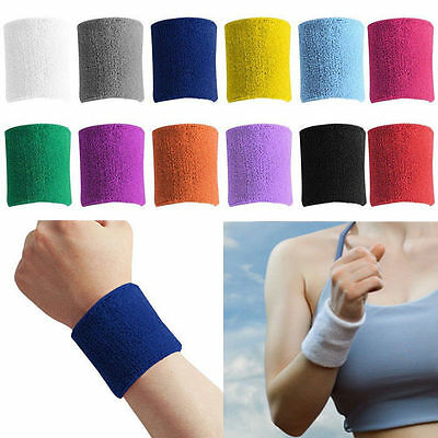 Sports Running Basketball Cotton Sweat Band Sweatband Wristband Wrist Band