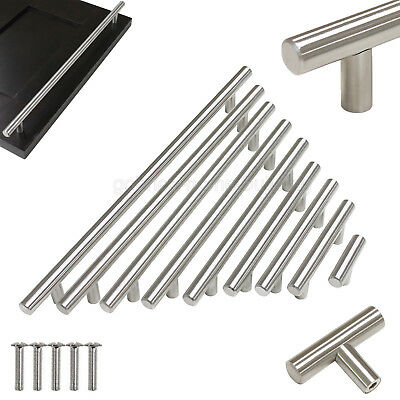 Stainless Steel T Bar Modern Kitchen Cabinet Door Handles Drawer Pulls Knobs Lot