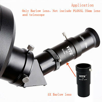 "VITE 1.25"" Apochromatic 5X Barlow Lens Universal for Telescope Eyepieces UK"