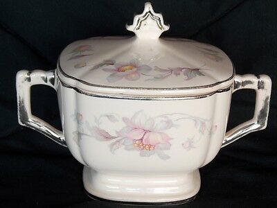 Vintage Peach Blos Limoges Silver Moon 4M133 sugar bowl with lid Blossoms