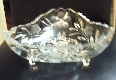 VINTAGE PRESSED GLASS OR CUT GLASS DISH WITH FEET CANDY OR NUT DISH