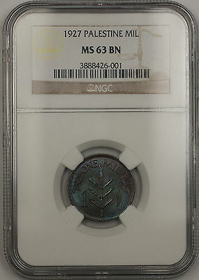 1927 Palestine 1 Mil Coin NGC MS-63 BN Brown *Attractively Toned* (A)