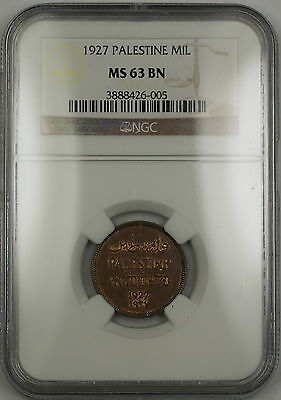 1927 Palestine 1 Mil Coin NGC MS-63 BN Brown (Some Red) (D)