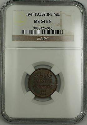 1941 Palestine 1 Mil Coin NGC MS-64 BN Brown *Attractively Toned*