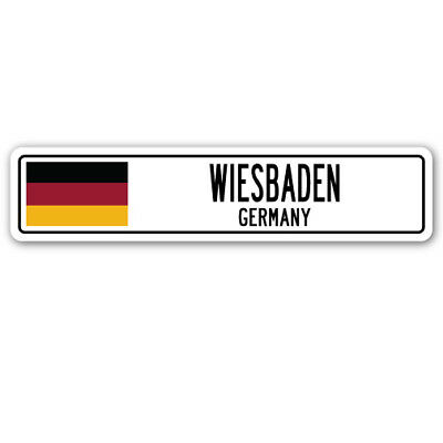 WIESBADEN, GERMANY Street Sign German flag city country road wall gift