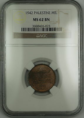 1942 Palestine 1 Mil Coin NGC MS-62 BN Brown (A)