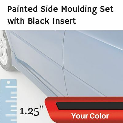 """Painted w/Black Insert 1.25"""" Body Side Moulding Set for Fiat 124 Convertible"""