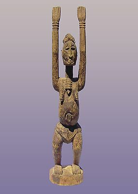 "African Dogon Tellem Figure With Raised Arms From Mali 27 1/2"" Tall"