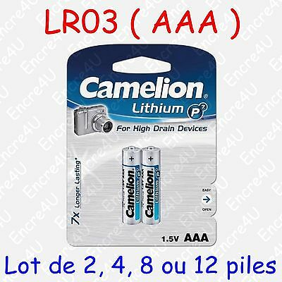 Pile Photo Lithium AAA LR3 FR3 LR03 R3 R03 MN2400 L92 1,5V ( x 2, 4, 8 ou 12 )