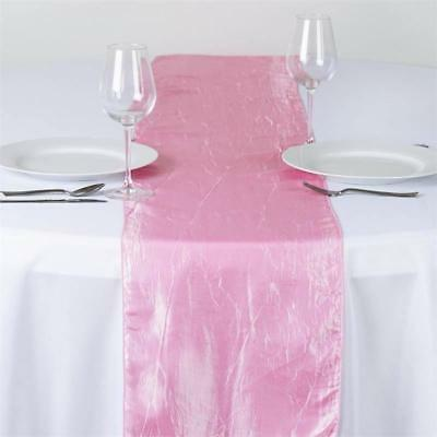 """Pink TAFETTA CRINKLE 12x108"""" Table RUNNER Wedding Party Decorations Dinner SALE"""