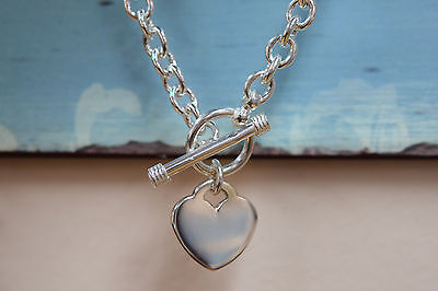 925 Sterling Silver Rolo Chain Toggle Necklace with Flat Heart Tag Pendant 18""