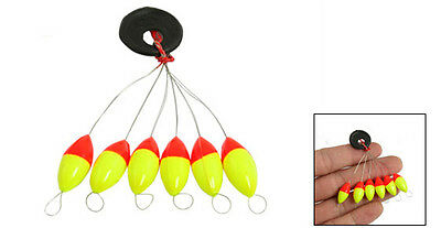4 Pcs Yellow Red Plastic 6 in 1 Fishing Bobber Stopper Sz 3 New