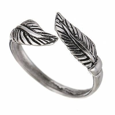 925 Sterling Silver Adjustable Double Leaf Oxidized Toe Ring