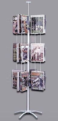 24 Pocket Literature Spinner Magazine and Newspaper Display Rack White New