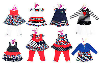 Girls Designer Beetlejuice London Dress Outfit Navy White 8 Styles Rrp£40 0-3-4Y