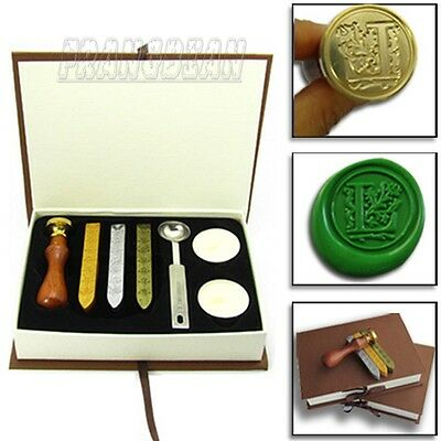 NEW Classic letter A-Z Alphabet Initial Letter Badge Wax Seal Stamp w/Wax Set
