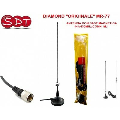 "DIAMOND ""ORIGINALE"" MR-77 ANTENNA CON BASE MAGNETICA 144/430MHz CONN. MJ"