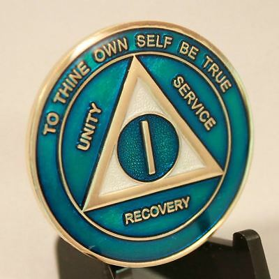 1 Year Blue & Pearl AA Recovery Medallion - Anniversary / Birthday AA Coin