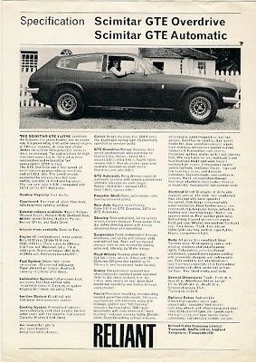 Reliant Scimitar GTE c1973 UK Market Specification Leaflet Brochure