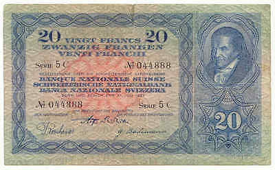 "20.- SFr. ""Pestalozzis"" 1931 (5C) - Serial number 044888 - fine+"