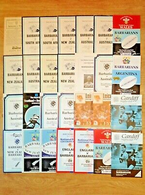 Barbarians Rugby Programmes 1954 - 2001
