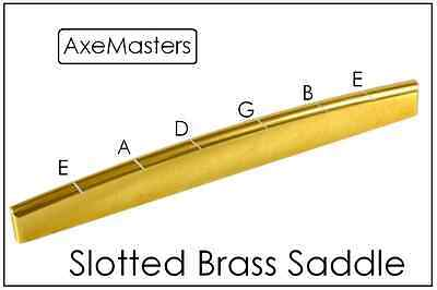 AxeMasters SLOTTED BRASS BRIDGE SADDLE for Acoustic Guitar