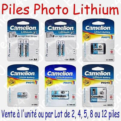 Piles Photo Lithium : AA AAA CR123 2CR5 CR-P2 CR2 ( Vente à l'unité ou par lot )