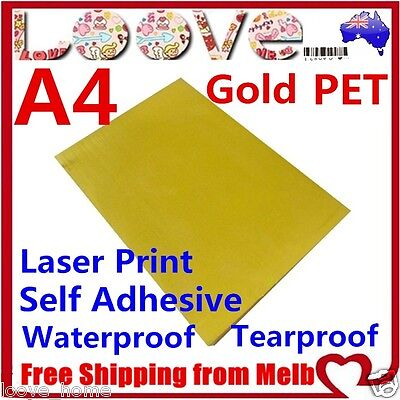 50x A4 Glossy Gold PET Self Adhesive Vinyl Sticker Paper Sheet Label Laser Print