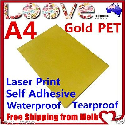 10x A4 Glossy Gold PET Self Adhesive Vinyl Sticker Paper Sheet Label Laser Print