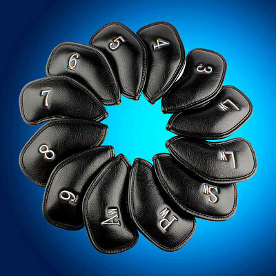 12 PCS PU Leather Golf Iron Head Covers Club Putter Headcovers 3-SW Set Black