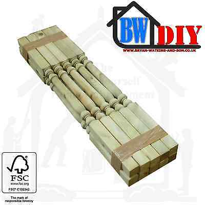 10 x Solid Pine Pressure Treated Decking Handrail Spindles, Edwardian, Turned,