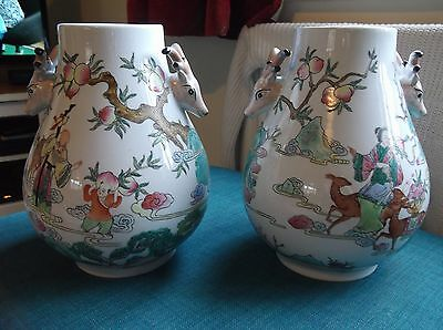 REALY NICE PAIR OF LARGE CHINESE VASES WITH UNUSUAL DECORATION