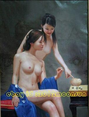 100% Handicrafts modern art oil painting on canvas  - nudes chess 24x36 inch