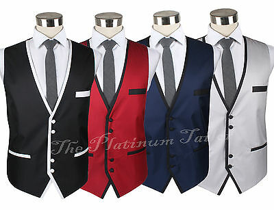 New Mens Designer Italian Waistcoat With Contrast Piping Textured Stylish 40-48