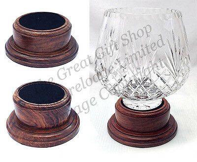 SOLID ROSEWOOD TROPHY BASE 8/9.5cm Recess Drilled Wood Plinth Display Stand NEW