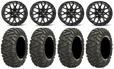 "ITP Hurricane 14"" Wheels Black 30"" BigHorn Tires Can-Am Commander Maverick"