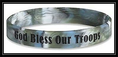God Bless Our Troops BLUE rubber silicone bracelet wristband ARMY Navy MARINES +