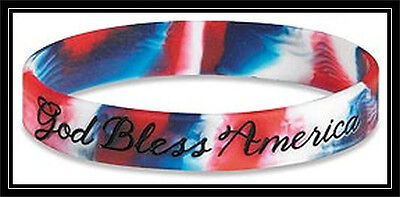 God Bless America RED - WHITE & BLUE rubber silicone bracelet wristband