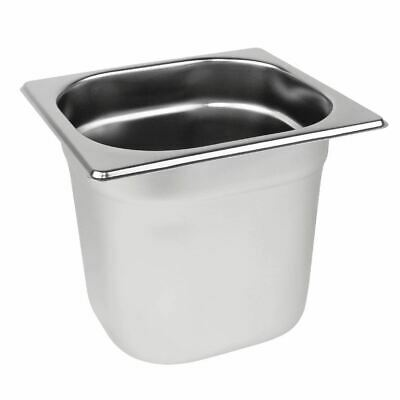 Vogue Stainless Steel 1/6 Gastronorm Pan with Overhanging Rim 150mm Deep - 2.2L