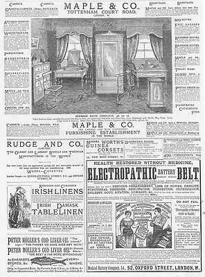 Victorian Adverts; Maple & Co Furniture, Rudge & Co Cycles - Antique Print 1886