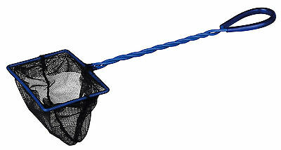 "4"" Black Net Aquarium Fish Tank Bowl Biorb Catch Net Black Blue Handle 10 x 7cm"