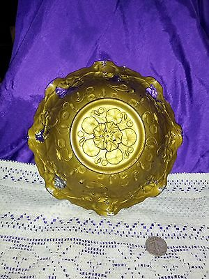 ANTIQUE EAPG GOOFUS GLASS FRUIT BOWL GOLD RUFFLED RIM WITH RED FLOWERS