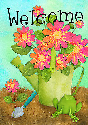"""Welcome Frog Spring House Flag Watering Can Flowers 28""""x40"""""""