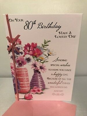 80Th Female Birthday Card With Love For Any Eighty Year Old Family Or Friend