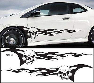 """Universal Car Skull Flames Pinstripe Racing Side Graphics Decals 61/""""X12/"""" SK3f30C"""