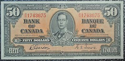 BANK OF CANADA - 1937 $50 NOTE - Prefix B/H - Signed Gordon & Towers - NCC