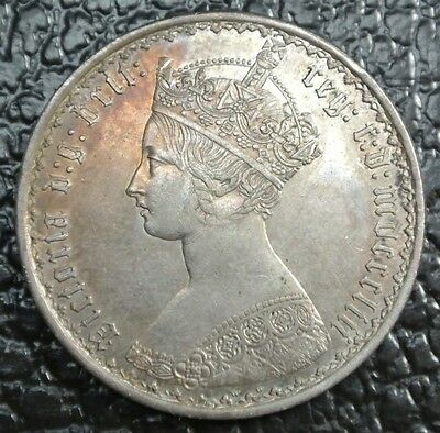 1853 GREAT BRITAIN - ONE FLORIN - SILVER - Victoria - Some Toning - NCC