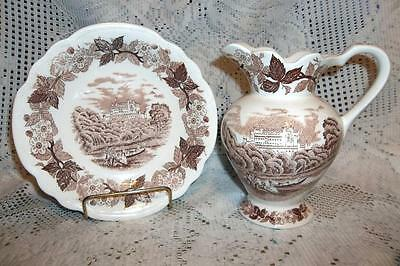"Vtg. ""Norleans"" Small Wash Basin & Pitcher White w/ Brown Print"